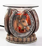 Horseshoe with Horse Polyresin Oil Warmer with