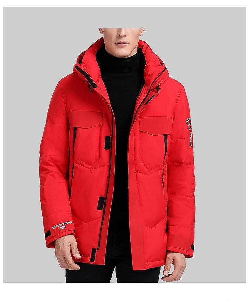 KBY-MM Veste d'hiver pour Hommes, Manteau en Duvet De Canard Blanc, Manteau Chaud Épais avec Capuche, Manteau De Neige, Manteau d'hiver pour Homme Red
