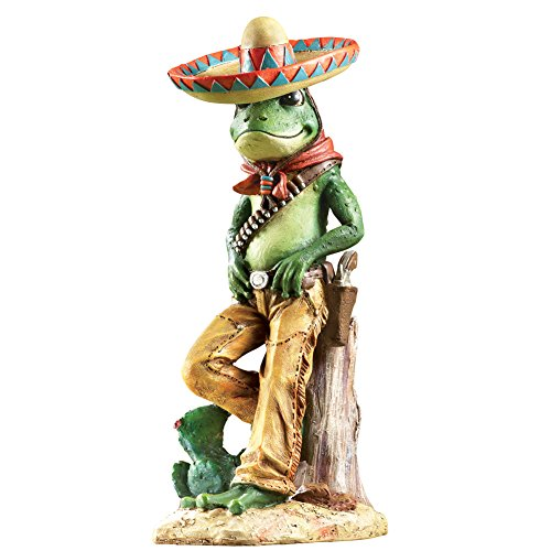 (Colorful Frog Bandito Hand-Painted Garden Sculpture - Decorative Outdoor Accent, Green)
