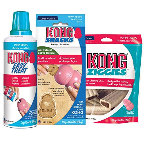 KONG - Puppy Treats Triple Combo Pack - Easy Treat Paste, Biscuits Snacks and Ziggies Treats - for Medium/Large Puppies