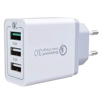 Cargador Triple USB 30 W, 3 Puertos USB, Puerto Carga Super RÁPIDA ...