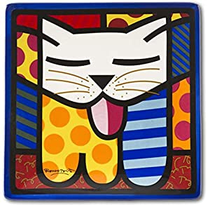 Amazon Com Romero Britto Square Side Plate Cat Home Amp Kitchen