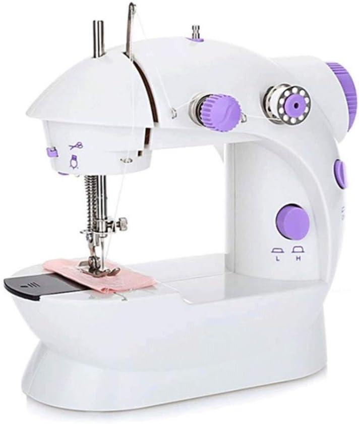 Adesign Máquina de Coser Mini Ajustable 2 Velocidad eléctrica Doble Rosca Máquina de Coser Handheld Bordado portátil for Principiantes niños de Costura Recta con el Pedal del pie