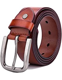 Men's Belt Vintage Genuine Leather Belt Black/Brown, 1 1/2 Inch Width