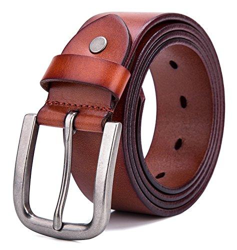 Tonly Monders Men's Belt Vintage Genuine Leather Belt Black/Brown, 1 1/2 Inch Width, 36-38 ()