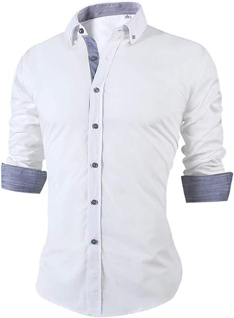 YAYLMKNA Camisa Camisa De Verano para Hombres Delgados para Hombre, Manga Larga, Tamaño Grande, Oficina Transpirable, Camisas De Vestir para Hombres, XL: Amazon.es: Deportes y aire libre