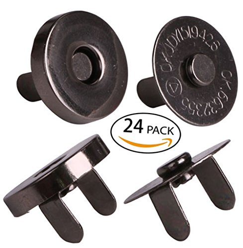 "Price comparison product image Mini Skater 24 Sets Magnetic Button Clasp Snaps - Purses, Bags, Clothes - No Tools Required - Choose Small or Large Magnetic button size:18mm(6/8"") (Black)"
