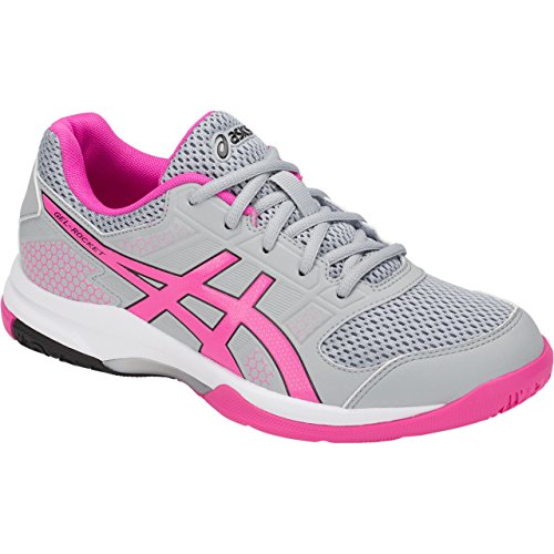 Image of ASICS Women's Gel-Rocket 8 Volleyball Shoe (7 B(M) US, Mid Grey/Pink Glo)
