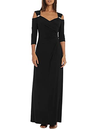Dokotoo Womens Casual Formal Ladies Cold Shoulder 3 4 Sleeve Solid  Rhinestone Ruched High Waist Long 2805cdf255