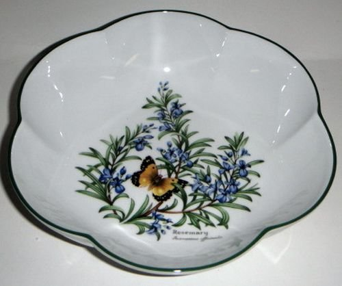 Royal Worcester Herbs Green Trim Round Scalloped Bowl 8