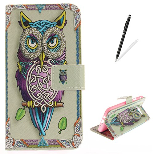 Galaxy J7 2017 Case,Galaxy J7 2017 Flip Wallet Case KaseHom [with Free Stylus Pen] Shockproof Folio Magnetic Premium Leather Cover Kickstand Card Slot Classic Art Owl Totem Design - Frame Tinkerbell Yellow