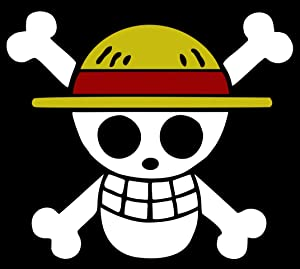 "One Piece Luffy Flag Sticker Decal Pirate Cartoon Anime Car Window Wall MacBook Notebook Laptop Sticker Decal (White Red and Yellow, 5,5"")"