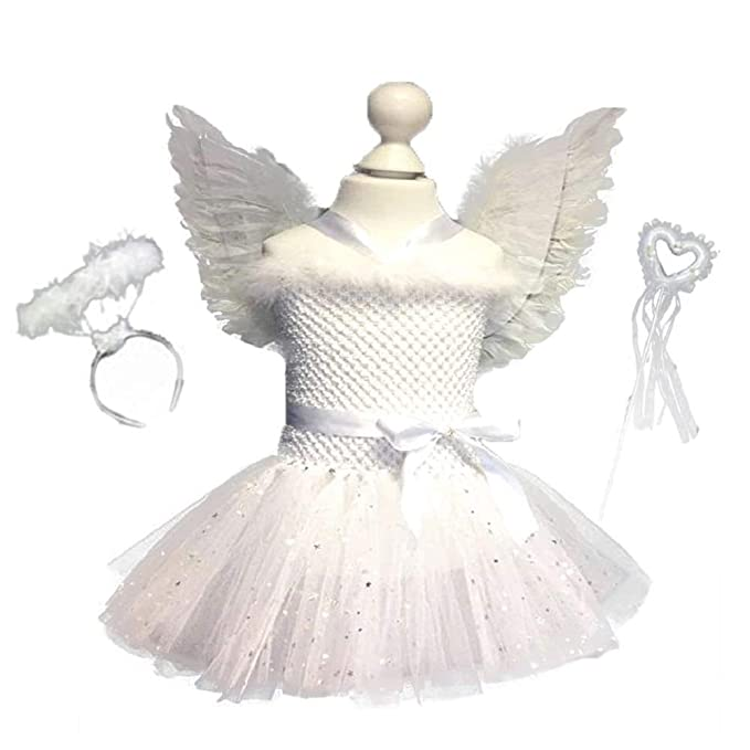 f50c1e889638 THE LONDON STORE White Sparkle Girl Feather Angel Birthday Cosplay ...