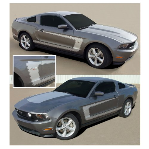 CarBeyondStore Ford Mustang 2010 to 2012 Matte Black Boss Stryle Side Stripes Body Graphic Kit