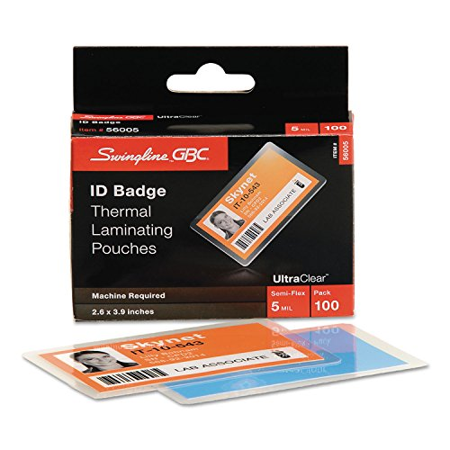 Swingline GBC 56005 UltraClear Thermal Laminating Pouches, ID Badge, 5mil, 2 5/8 x 3 7/8, 100/Pack