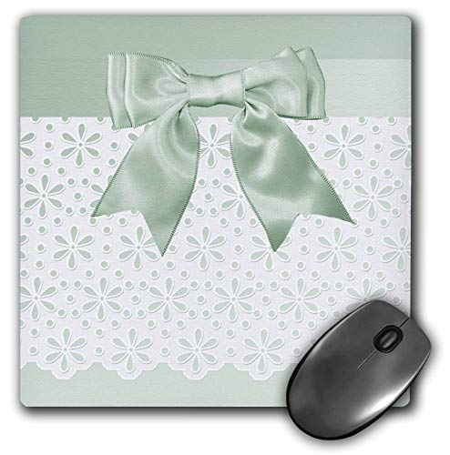 - 3dRose Beverly Turner Wedding Attendant and Bridal Party - Pastel Green Satin Bow Look on Flowered Eyelet Look - Mousepad (mp_244127_1)