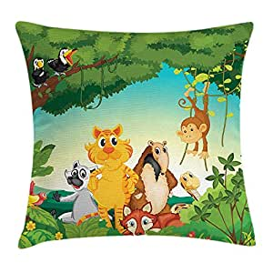 DHNKW Zoo Throw Pillow Cushion Cover, Forest Scene with ...