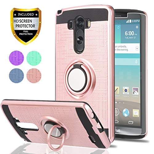 LG G3 Phone Case with HD Phone Screen Protector,Ymhxcy 360 Degree Rotating Ring & Bracket Dual Layer Resistant Back Cover for LG G3 2014-ZH Rose Gold (Phone Case Lg Gold G3)