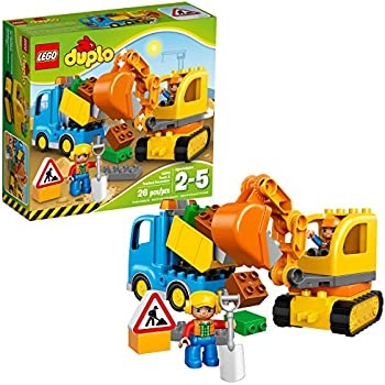 LEGO DUPLO Town Truck & Tracked Excavator 10812 Dump Truck and Excavator Kids Construction Toy with DUPLO Construction Worker Figures (26 pieces)
