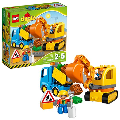 LEGO DUPLO Town Truck & Tracked Excavator 10812  Dump Truck and Excavator Kids Construction Toy with DUPLO Construction Worker Figures (26 pieces)]()