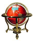 Unique Art 150-GT-RED CRY-GOLD 10-Inch Tall Table Top Red Crystallite Gemstone World Globe with Gold Tripod Stand