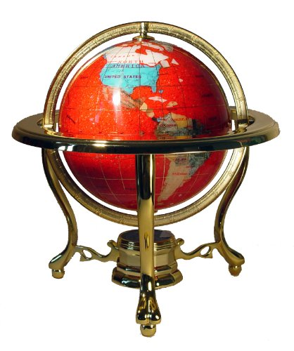 Unique Art 10-Inch Tall Table Top Red Crystallite Gemstone World Globe with Gold Tripod Stand ()