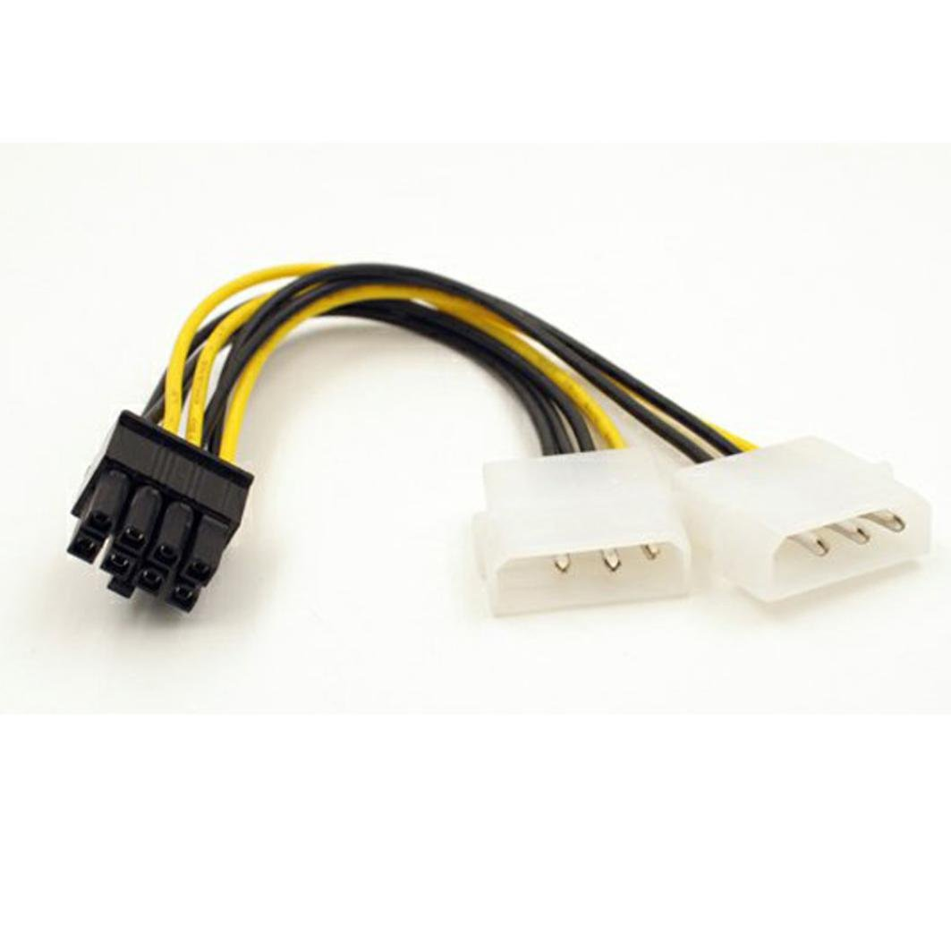 Opeer Dual Molex LP4 4 Pin to 8 Pin PCI-E Express Graphic card GPU Converter Adapter Power Cable Wire (Black)