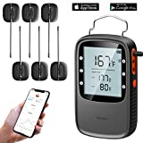 remote bbq thermometer iphone - Govee Bluetooth Meat Thermometer for iPhone/Android, Wireless BBQ Thermometer with 6 IPX7 Waterproof Probes, Remote Food Cooking Thermometer with Timer for Grill & Smoker(230ft Working Distance)