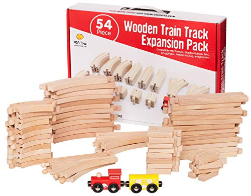 USA Toyz Wooden Train Tracks Set - 54 Pc Toy Train Tracks for Kids w/ 2 Toy Trains + 52 Train Tracks Wood Pieces + Train Wooden Tracks Carry Box