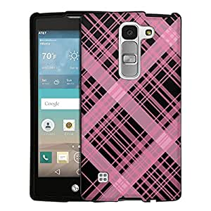 LG Escape2 Case, Snap On Cover by Trek Plaid Lines Pink on Black Case