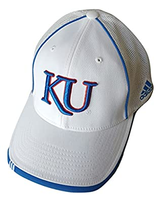 adidas - Kansas Jayhawks White Stretch Fitted Flex Mesh Back Hat Cap - One Size