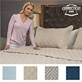 king bedspread quilt - The CONNECTICUT HOME COMPANY Original Luxury Bedspread Quilt Collection (KING), 3-Piece includes Shams, Oversized and Thick, Quilted Pattern, Top Choice by Decorators, Machine Washable (Beige-Basket Weave)