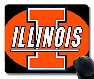 Custom Gaming Mouse Pad with Illinois Fighting Illini3(1) Non-Slip Neoprene Rubber Standard Size 9 Inch(220mm) X 7 Inch(180mm) X 1/8(3mm) Desktop Mousepad Laptop Mousepads Comfortable Computer Mouse Mat