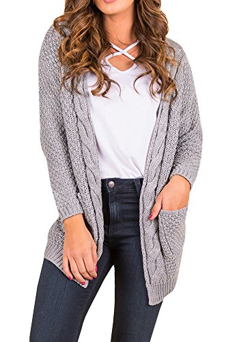 Ferbia Womens Cardigan Sweaters Open Front Long Sleeve Loose Chunky Knit Pointelle Pullover Outwears ()
