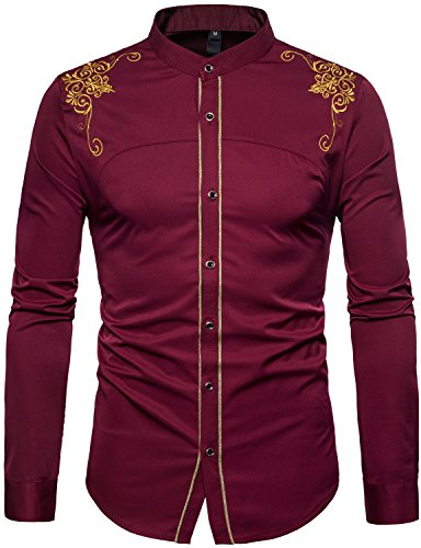 WHATLEES Mens Casual Hipster Mandarin Collar Slim Fit Long Sleeve Dress Shirts with Gold Embroidery T156 Burgundy (Mandarin Collar)