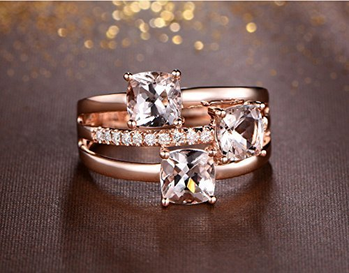 Solid 18k rose gold promise ring,0.12ct SI-H Diamond engagement ring,3.18ct Cushion Natural VS pink Morganite,prong set ()