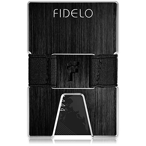 Credit Card Holder Money Clip - FIDELO Minimalist Wallet for Men, Aluminum Slim Wallet & Best RFID Wallets for Men - Mens Travel Wallet (TITAN - Black)