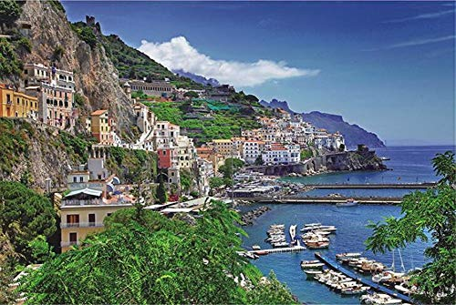 PARATOS 1000 Piece Italy Positano Aegean Sea Amalfi Coast Seaport Picture Landscape Home Photo Frame Wall Decoration Wooden Jigsaw Puzzles for Birthday