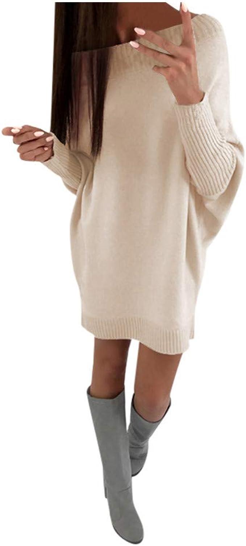 Women's Knit Sweater Dresses, Ladies Autumn Winter Solid