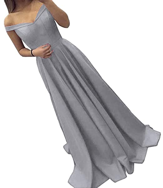 6b5459b2524 Dressylady Off The Shoulder A Line Long Prom Homecoming Dress Evening Gowns  Grey 2