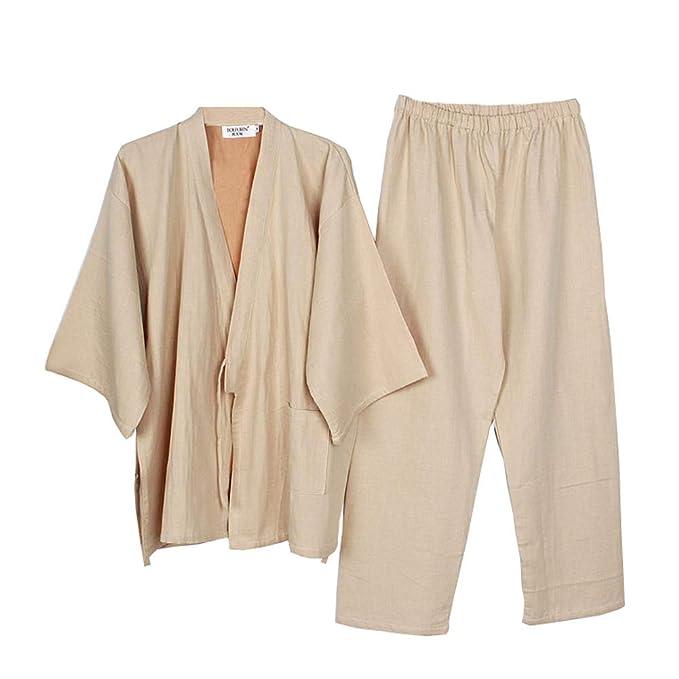 Trajes de Estilo japonés para Hombre Trajes de Pijama de Kimono ...