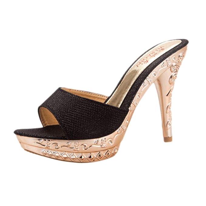 Zapatos de Mujer Zapatos Casuales Zapatos Perezosos Zapatos de tacón Alto para Mujer Zapatos Solos Casuales Sandalias Silvestres Estilete para Mujer ...