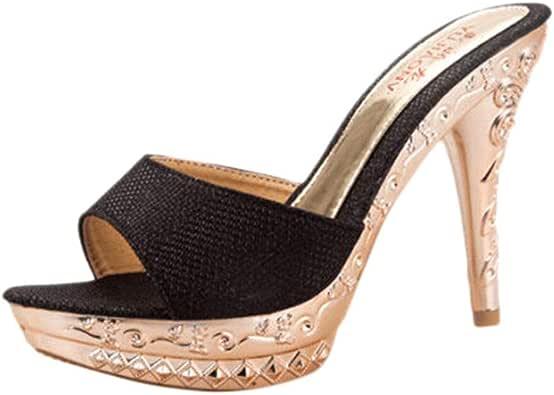Sandalias de Vestir Tac/ón Mujer Plataforma Verano 2019 Casual Chanclas con Puntera Abierta de Doradas Aire Libre Zapatos Tac/ón C/ómodo Correa de Hebilla 35-39 POLP