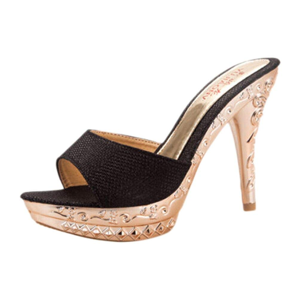 Women's Shoes for Women,SYHKS Women High-Heel Shoes Casual Single Shoes Wild Sandals Stiletto Ladies Slippers Sandles for Women(Black,37