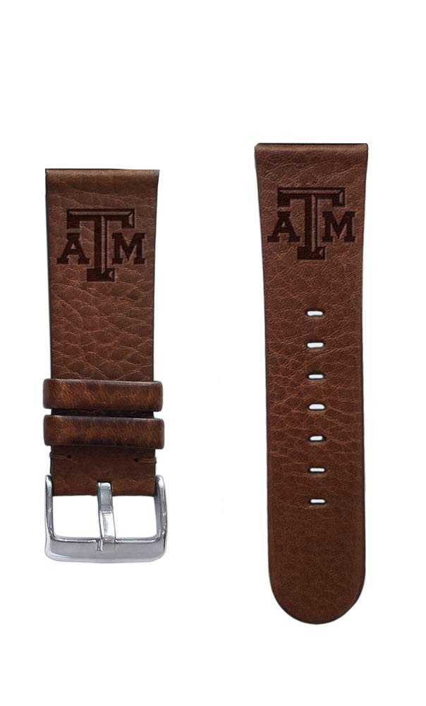 Affinity Bands Texas A&M University Aggies 20mm Premium Leather Watch Band - 2 Lengths - 3 Leather Colors - Officially Licensed by Affinity Bands