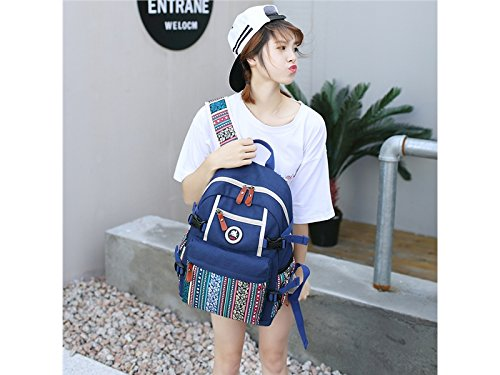Yunqir Multi-functional Women Printing Ethnic Wind Laptop Computer Backpack for Outdoor Travel Camping