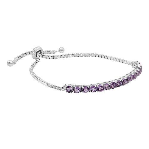 Gemstone Bolo Style Bracelet in Sterling Silver, choice of Amethyst, Blue Topaz or Peridot