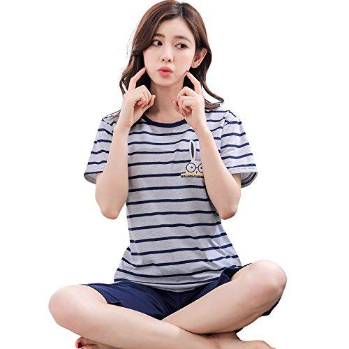 KF-Nlj Pijamas De Verano para Mujer Linda Raya De Algodón De Manga Corta Suelta