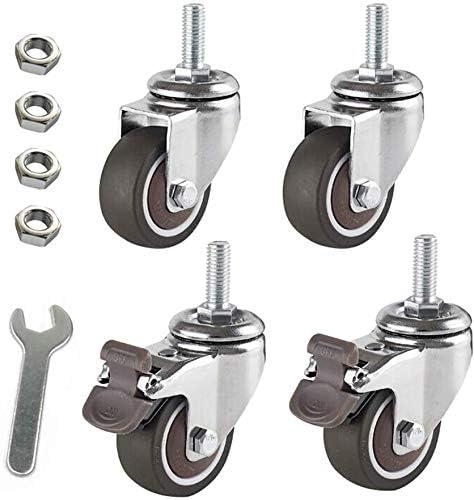 (4 piezas) mudo 2 pulgadas M10 percha de tornillo pequeña mesa rueda mini rueda rueda material
