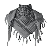 Explore Land 100% Cotton Military Shemagh Tactical Desert Keffiyeh Scarf Wrap (Gray)